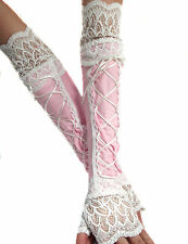 XX LONG LACE UP BABY PINK WHITE SPANDEX FINGERLESS GLOVES CUFFS ARM WARMERS