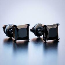 Men's Small CZ Black Solitaire Princess Cut Onyx Screw Back Stud Earrings