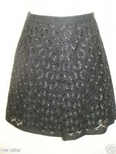 New ELIE TAHARI Black Eyelet SABINE Cotton Skirt 8 $468 NWT