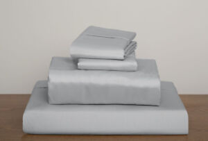 Silver / Light Gray Solid King Sheet Set 1000 Thread Count 100% Egyptian Cotton