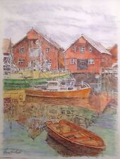 Harbor In The Fjord -Small, Art-reproduction, artist, ink, realism, architecture
