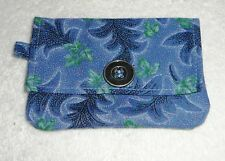 WALLET~ID~CARD HOLDER~Blue/Green~Fabric~4 Pocket~Key Ring~Self Stick Closure~NEW