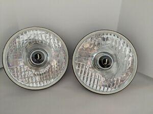 "Jaguar Pair NEW 7"" Headlights w/ Bulb Rubber Lamp Seal XK 120 140 150 Mk VIII Mk"