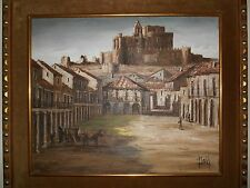Original, Signed Oil Canvas Painting Turegano Segovia/Spain by Raul Santos Viana