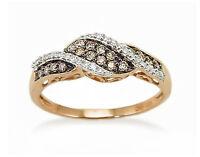 Chocolate Brown & White Diamond Ring 10K Rose Gold Diamond Twist Band .21ct