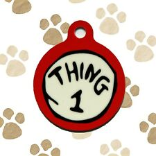 NEW Thing 1 Dr. Seuss Engraved Dog Pet ID Tag Personalized Charm Key Ring
