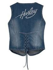 Harley Davidson Stretch Embellished Rhinestone Denim Jean Vest 99169-10VW LARGE