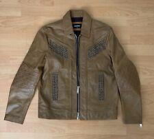 Dsquared2 Studded Zip Up Leather Jacket Camel $4000 Size 50