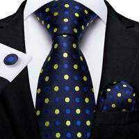 Blue Yellow Dots Silk Tie Set Mens Necktie Pocket Square Cufflinks Classic Width