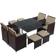 Poly-Rattan Garten-Garnitur Korfu, Lounge-Set 4 Stühle braun, Kissen beige