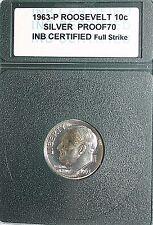 Moneda De Estados Unidos 1963-P 10 céntimos Moneda de Roosevelt Plata Prueba 70 Completo huelga ocupado en servicio certificado
