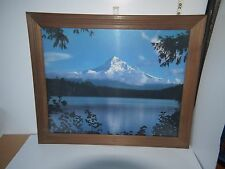 19 x 23 Wooden Framed w/Glass Painting of Majestic Blue Snow Mountain & Lake