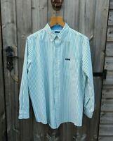 Vtg Chaps Ralph Lauren M Green & White Stripe Shirt Men's Easy Care Casual