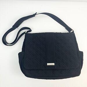Vera Bradley Black Quilted Lined Baby Diaper Bag Adjustable Strap Multi Pocket