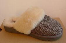 Ugg Australia Women's Slipper Charcoal Gray Cozy Knit Fur Trim 1095116 Sz 6 NIB