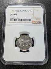 1927 R MS66 Albania 1/4 lek NGC KM 3 UNC 2 Year Type Coin!