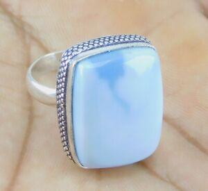 Owyhee Blue Opal stone 925 silver plated handmade Ring US Size 8   Z686