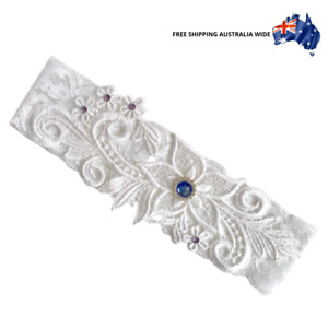 Lace Bridal Garter Diamantes and Floral Lace wedding toss white (Ref:#2)