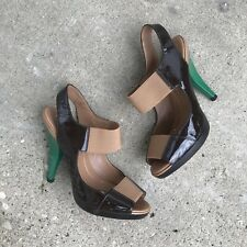 BCBG Shoes 5.5 Brown Patent Leather Green Heels Pumps Peep Toe Colorblock