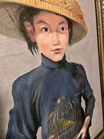 "M. Liu CHINESE ASIAN GIRL W/ Birdcage Framed Oil Painting on Canvas. 19"" x 30"""