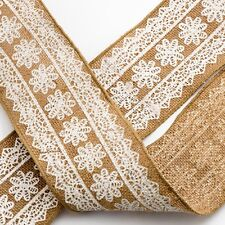 Floral Printed Wired Edge Hessian Ribbon 10cm x 10m Roll Lace Craft Floral