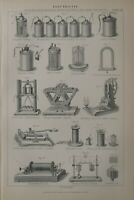 1886 Stampa Elettricità Galvanism Electro-Magnetism Magneto Thermo Batteria File