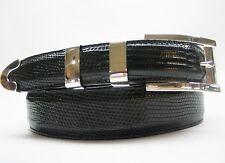 "Sterling silver buckle 2 loops and tip set 41 g w/Genuine Lizard-1-1/4 to 1""belt"