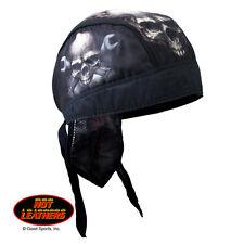Skull Wreches Black Biker Premium Headwrap Sweatband Vented Mesh Lined Interior