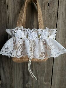 Burlap and lace flower Girl Basket, Rustic, hippie, boho, white