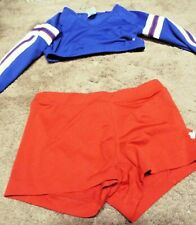 Varsity Long Sleeve Cheerleader Outfit 2 Piece Blue Top Red Shorts Costume