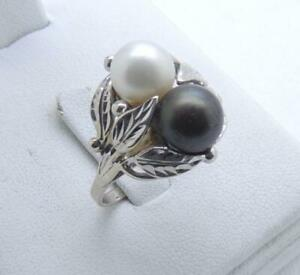14K White Gold Black & White Pearl Ring 6 Grams Size 8