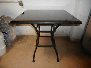 Black Marble Wrought Iron Table - 28in by 28in marble top in excellent condition