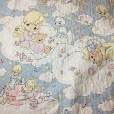 """Precious Moments Baby Clouds Angels Quilt Handmade Crib Blanket Quilt 35"""" x 44"""""""