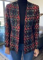 MARITA BY ANTHONY MUTO DESIGNER Tartan Tweed Plaid Sequin Open Front Jacket 2/4