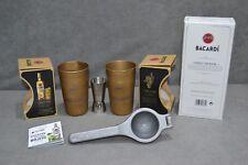 2x Bacardi Cuba Libre Gold Tin Cup Mug 1x Spirit Measure Jigger 1x Lime Squeezer