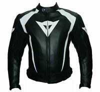 DAINESE BLACK MOTORBIKE TRACK DAYS COWHIDE LEATHER CE PROTECTORS ARMORED JACKET