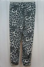 Miken Cover Up Pants Sz L Grey White Multi Color Animal Print Elastic Waistband
