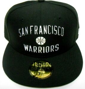New Era 59Fifty San Francisco Golden State Warriors Black Snapback Hat Cap 7 1/4