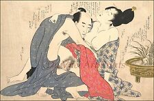 Japanese Art Print: JAPANESE SHUNGA ART PRINT Reproduction No. 3 by Utamaro