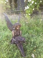 Large Sitting Fairy Ornament Statue Bronze Effect Patina Hand Finished