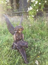 Sentado Hada Decoración de jardín acabado efecto bronce estatua envían 1-2 días