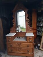 Victorian Dresser Nice handles WITH LARGE CARVED MIRROR.   ILLINOIS NEAR CHICAGO