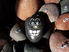 """Hand Painted Emoji Rock Art & Quote """"Hey You - Cheer Up"""" on The Flipside"""