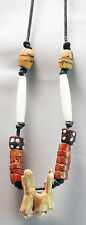 NATIVE JEWELRY HANDMADE BEADED FOSSIL BISON TOOTH BAUXITE NECKLACE ETHNIX
