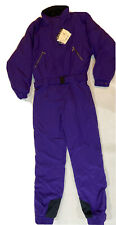 Eddie Bauer Vtg Ski Suit Women's 16 Tall One Piece Purple Belt Quilted NWT