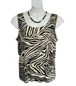CHICOS Travelers Tank Top Size 3 L 16 18 Shell Slinky Travel Knit Zebra Print