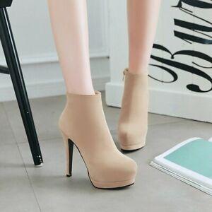 Women's Ankle Boots Zip Round Toe Slim High Heels Platform Faux Suede Winter