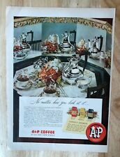 Original Print Ad 1950 A&P Coffee EIGHT O'CLOCK Red Circle Bokar Table SErvice