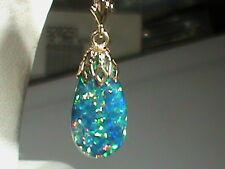 14kt Gold FILIGREE Cap Leverback Earrings 20 MM Created WIDE Blue Opal Drops !