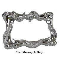 3D SNAKE VIPER BONES CHROME METAL MOTORCYCLE LICENSE PLATE FRAME FOR  UNIVERSAL